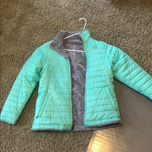 reversible teal and grey north face